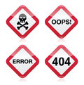 Danger, oops, error, 404 red warning sign Stock Images