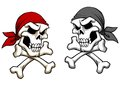Danger pirate skull in cartoon style for mascot or tattoo design Stock Image