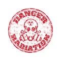 Danger radiation stamp Royalty Free Stock Photo