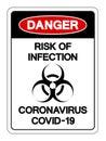 Danger Risk Of Infection Coronavirus Covid-19 Symbol Sign, Vector Illustration, Isolate On White Background Label. EPS10