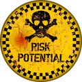 Danger, risk warning sign, worn and grungy, vector Royalty Free Stock Photo