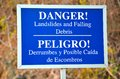 Danger sign in costa rica close up of a blue related to landslides and falling debris Stock Image