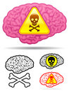 Danger skull brain collection Royalty Free Stock Photo