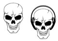 Danger skull in headphones isolated on white background Royalty Free Stock Photography