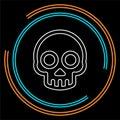 Danger skull icon, vector skull crossbones