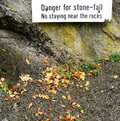 Danger stone-fall in rocky forest surroundings Stock Photos