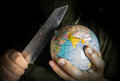 Danger terrorist for the world crime and terror concept Stock Photos