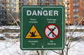 Danger thin ice sign Royalty Free Stock Images