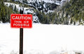 Danger thin ice sign with snowy lake Royalty Free Stock Photo