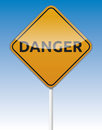 Danger traffic isolated board with reflection Royalty Free Stock Photos