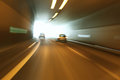 Danger tunnel driving car traffic motion blur Stock Images