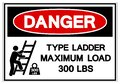 Danger Type Ladder Maximum Load 300 LBS Symbol Sign, Vector Illustration, Isolate On White Background Label .EPS10 Royalty Free Stock Photo
