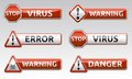 Danger virus warning icon isolated error sign collection with reflection and shadow on white background for your text Stock Image