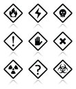 Danger warning attention square icons set vector risk on white Stock Photography