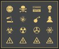 Danger and warning icons vector illustration of attention hazrd Stock Images