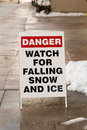 Danger watch for falling ice and snow sign a warning people to Royalty Free Stock Photo