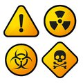 Danger yellow sign icons set vector illustration Royalty Free Stock Photo