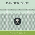 Danger zone and skull sign. Royalty Free Stock Photo