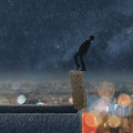 Dangerous balance concept of business man dancing on a stone of the roof of city under stars in night Royalty Free Stock Photography