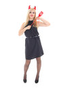 Dangerous blonde girl in imp costume Royalty Free Stock Image