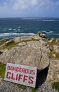 Dangerous Cliffs at Land's End in Cornwall Stock Photos