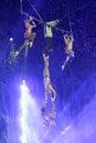 Dangerous complex swing acrobatics Royalty Free Stock Photo
