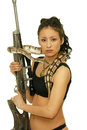 Dangerous girl picture of with gun and snake Stock Photography