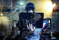 Dangerous hacker stealing data -industrial espionage concept