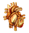 Dangerous heart diet and unhealthy food concept with human cardiovascular anatomy organ made from unhealthy and fried fast food as Stock Photos