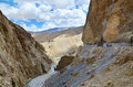 Dangerous mountain road the high altitude manali leh in ladakh himachal pradesh india Royalty Free Stock Image