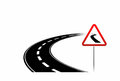 Dangerous road simplified illustration of a with warning sign Royalty Free Stock Image