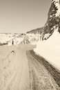 Dangerous road in winter with snow and ice Stock Photography