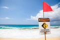 Dangerous shore break warning signs mark where there is a very and rip current along the north of oahu hawaii Royalty Free Stock Images