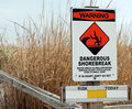 Dangerous Shorebreak Warning Stock Photos