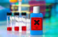 Dangerous substance plastic container laboratory table Royalty Free Stock Image
