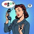 Dangerous talk phone communication viruses business woman abuse problems retro style pop art Stock Photos
