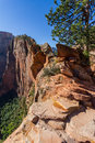 Dangerous trail in Zion National Park, Angel's landing Royalty Free Stock Photo