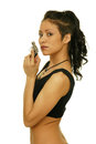 Dangerous woman beautiful holding a gun in her hand Royalty Free Stock Image