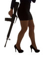 Dangerous woman in black with assault rifle and stylish silhouette Stock Photography