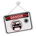 Dangers of leaving a dog in parked cars red and black danger sign with the symbols car isolated on white background Royalty Free Stock Photos