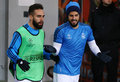 Dani carvajal and raphael varane of real madrid lviv ukraine november l go into the pitch before uefa champions league game Royalty Free Stock Photography