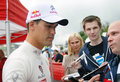 Dani sordo gives autographs in moscow spanish rally driver wrc team to fans at city racing formula teams show historical city Stock Images