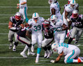 Daniel thomas breaks through patriots defense miami dolphins rb the new england for a big gain sunday october Stock Image