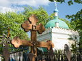 Danilovskoe cemetery in moscow the church of st nicholas may Stock Photography