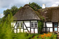 Danish farmhouse with thatched roof Royalty Free Stock Photo