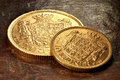 Danish gold coins Royalty Free Stock Photo