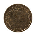 Danish krone coin over black background dkk currency of denmark Stock Photography