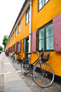 Danish lifestyle bicycle parking on the street Stock Photography