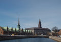 Danish parliament building christiansborg palace at the center and the old stock exchange on left Stock Images