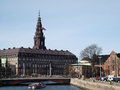 Danish parliament building christiansborg palace viewed from holmens canal the palace inhouses the prime ministers office and the Royalty Free Stock Photo